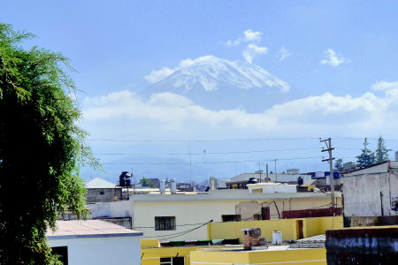 View from our hostel in Arequipa: the mighty El Misti volcano.