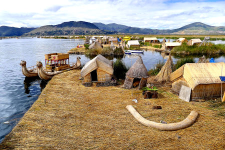 Islands of the Uros people, Lake Titicaca.