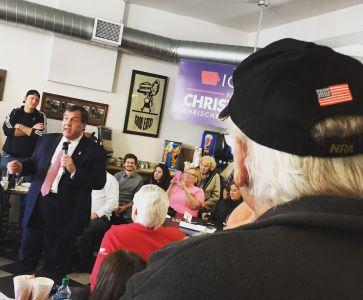 På kampanjjippo med New Jerseys guvernör Chris Christie (rep) i Iowa, jan 2016