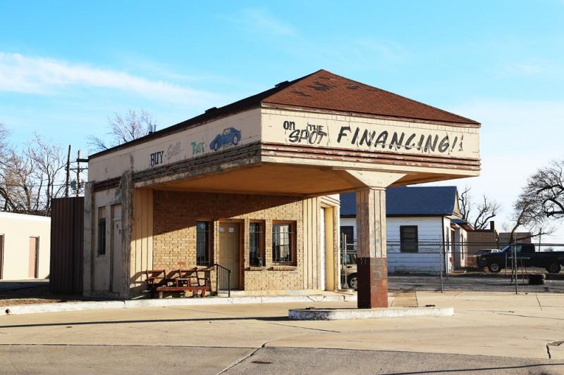 Övergiven gammal kontorsbyggnad i Amarillo, Texas.