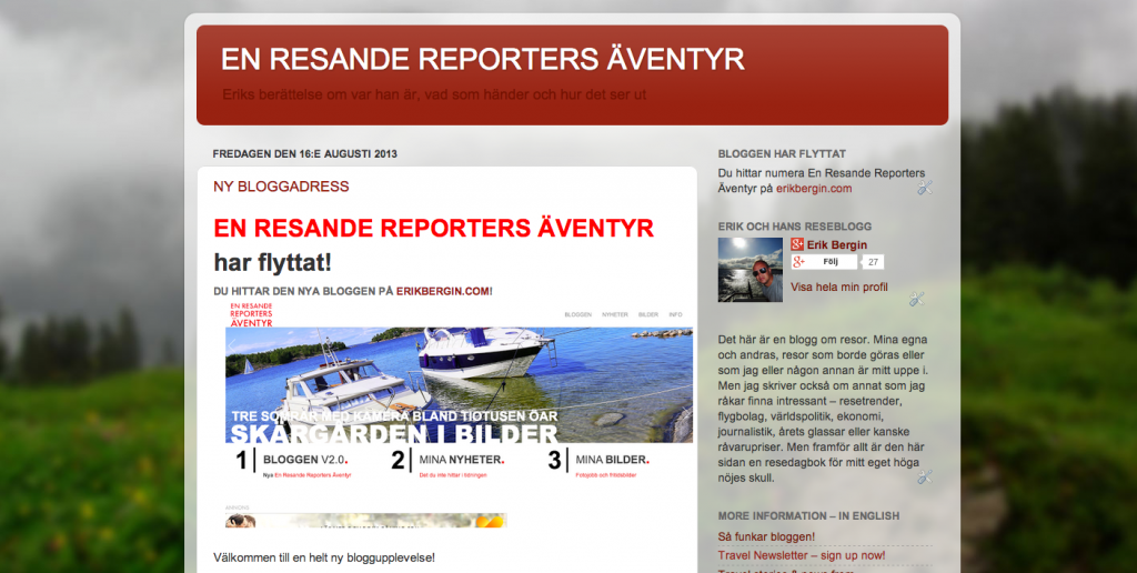 Gamla versionen av En Resande Reporters Äventyr.
