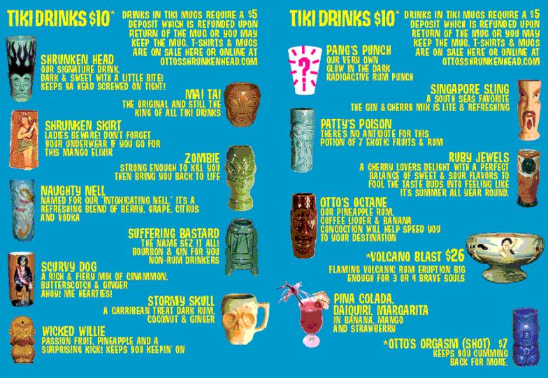 En del av Otto's drinklista.