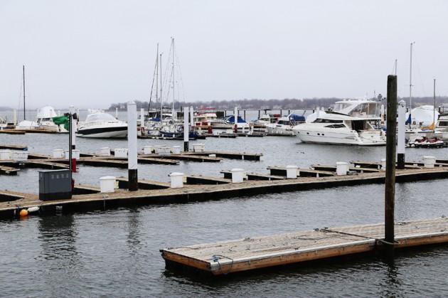 En av många småbåtshamnar på City Island, som tillhör The Bronx.