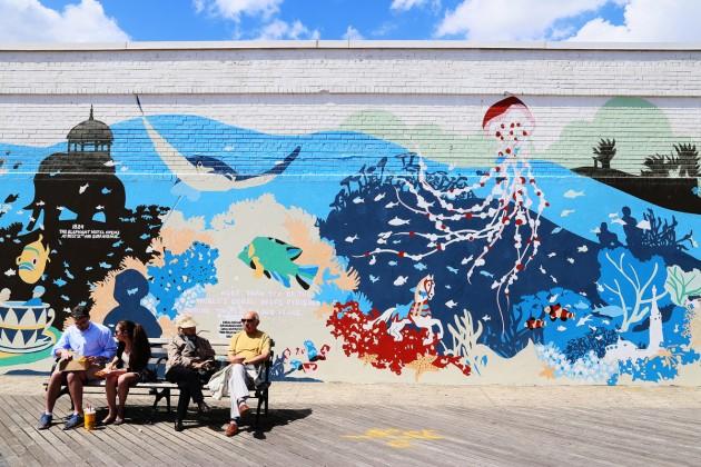 Väggmålning vid Coney Island.