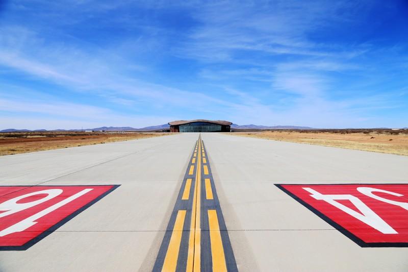 Landningsbanan vid Spaceport America.