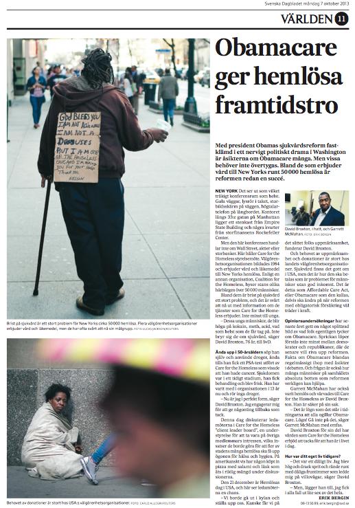Artikeln om Care for the Homeless i SvD måndagen den 7 oktober.