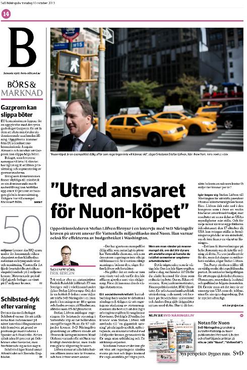 Löfven-intervjun i nedstruken pappersversion torsdag den 10 oktober.