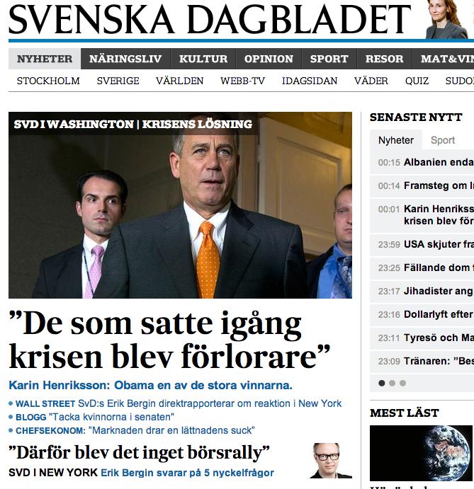 SvD.se:s förstasida i natt.