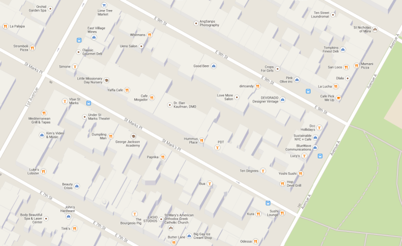Här längs åttonde gatan finns många av East Villages barer och restauranger.