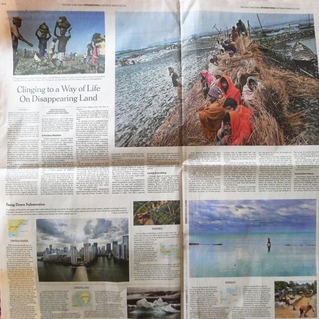 Bangladesh riskerar översvämmas, New York Times lördag 29 mars. I botten på uppslaget berättas om andra platser som hotas av stigande hav, inklusive två ställen där jag också varit: Fiji och Florida.