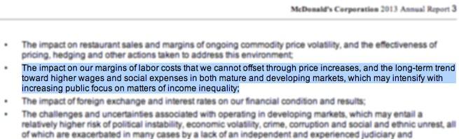 Dokumentet som ger de anställda hopp: I McDonald's egen årsredovisning för 2013 skriver snabbmatsjätten att man förväntar sig lägre vinst framöver – till följd av kampen för högre löner.
