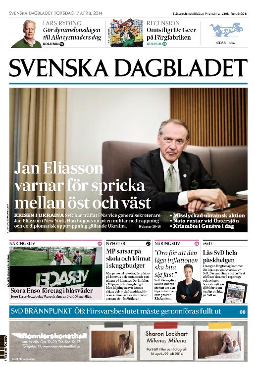 SvD:s förstasida torsdagen den 17 april 2014.