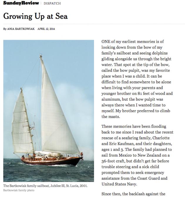Aina Bartkowiak om att växa upp till sjöss. NYT den 12 april.