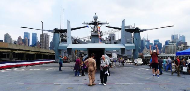 Akterdäcket på USS Oak Hill.