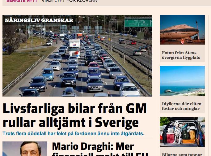 SvD Näringslivs sajt på torsdagsförmiddagen.